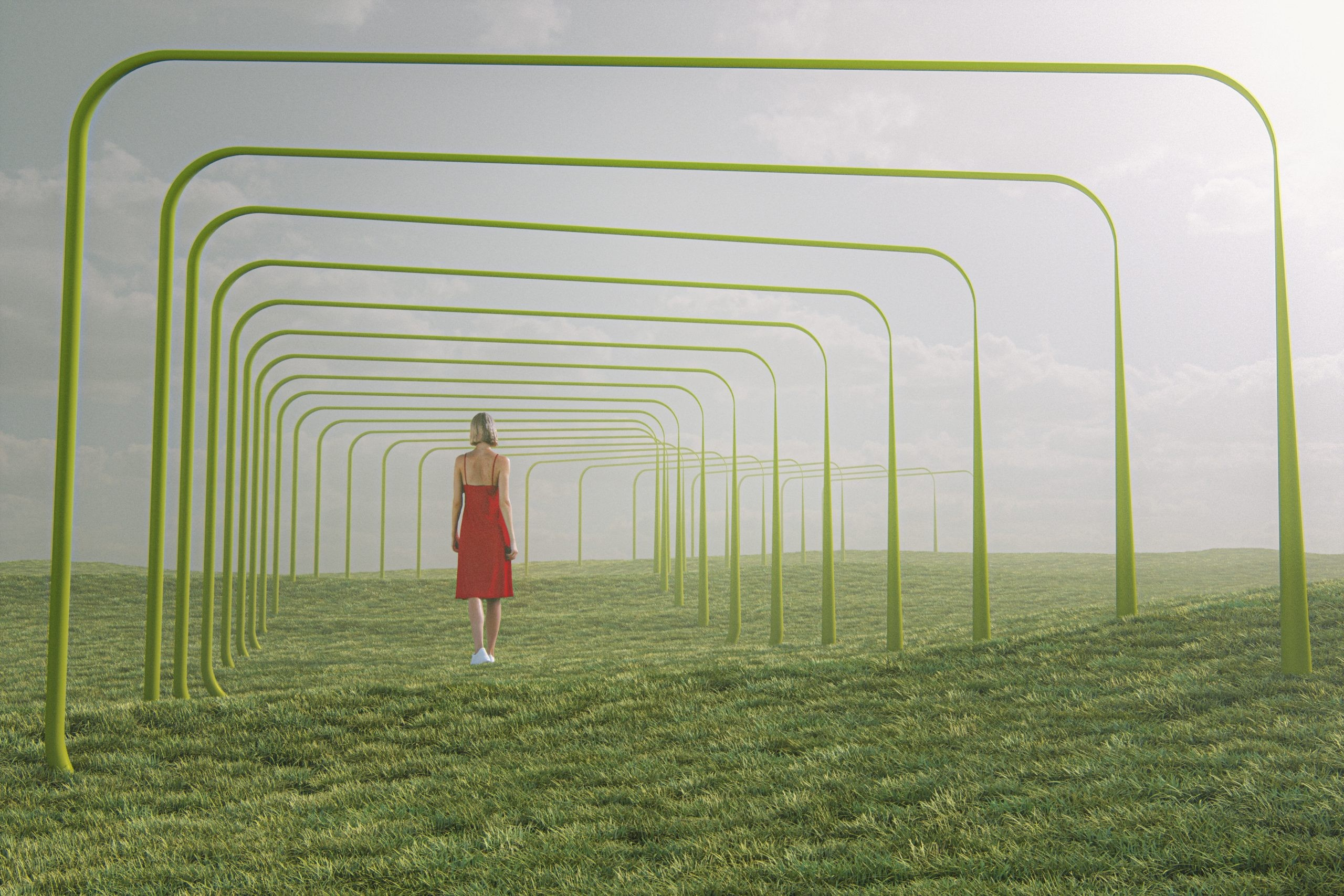Young woman walking in fantasy meadow